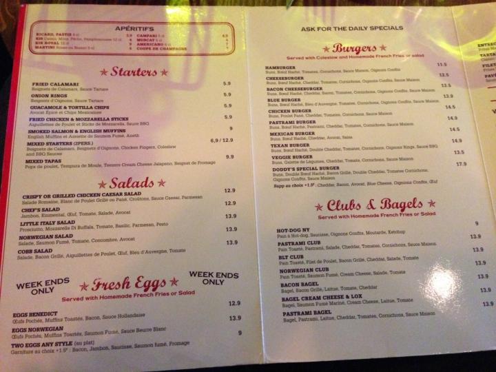 menu doddy's coffee - les restos de boulogne
