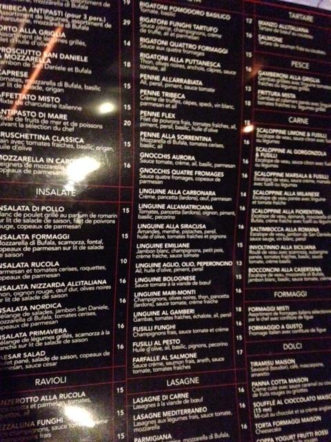 menu tribeca - mauvaise qualité