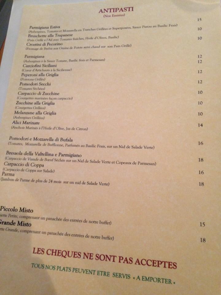 menu a tavola