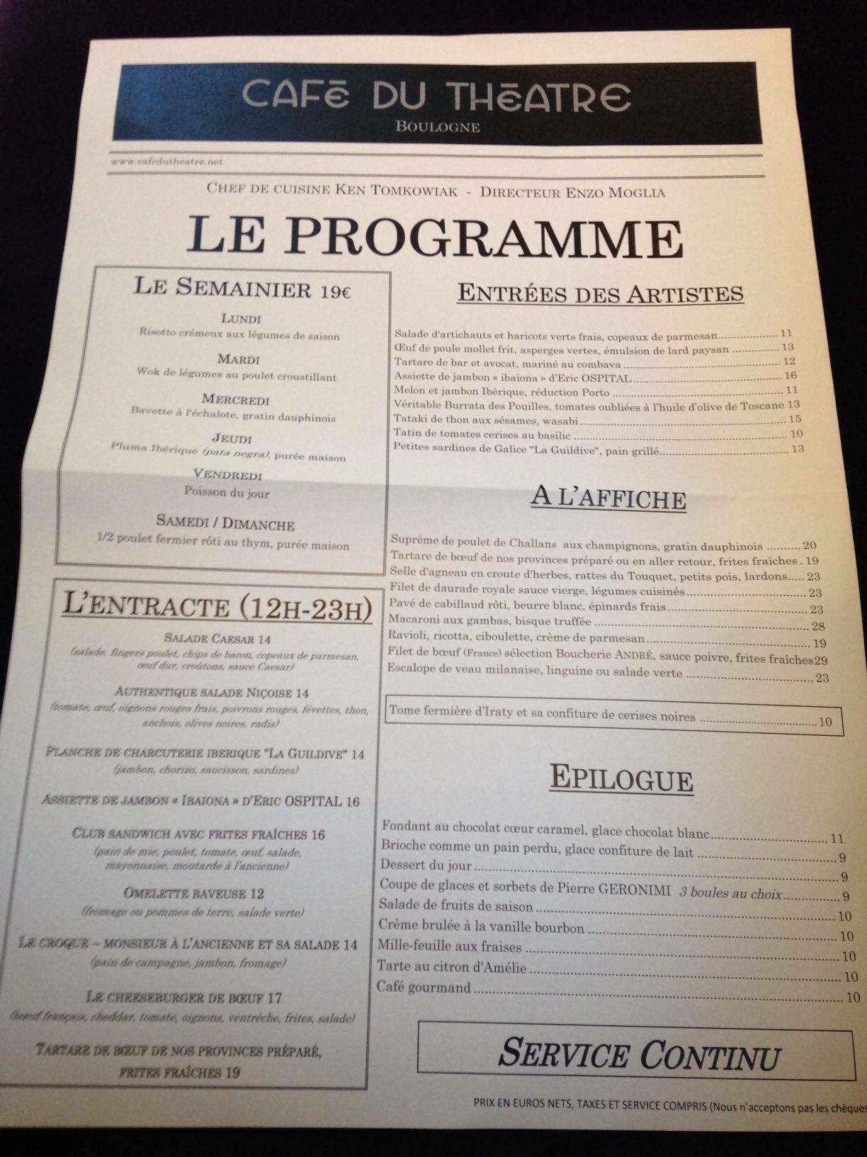 Exceptionnel Café du théâtre 8,75/10 – les Restos de Boulogne WC03