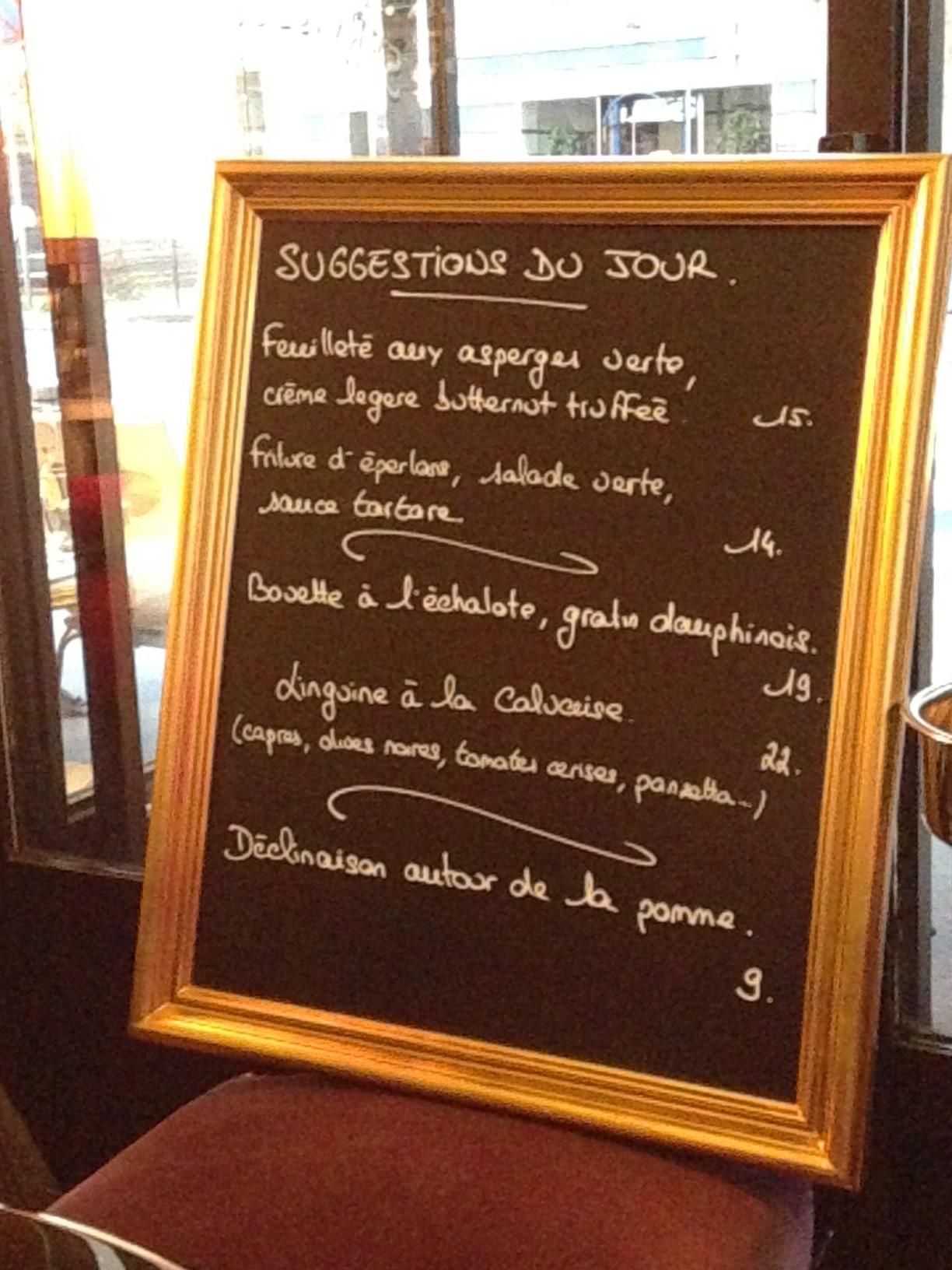 Carte Cafe Du Theatre Boulogne