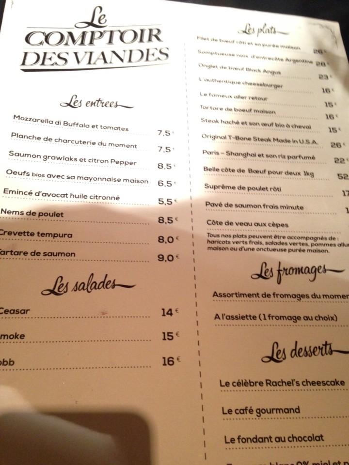 menu comptoir des viandes