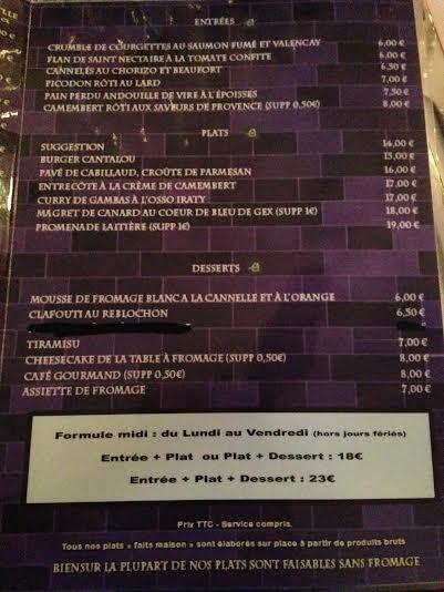 menu de la table à fromage