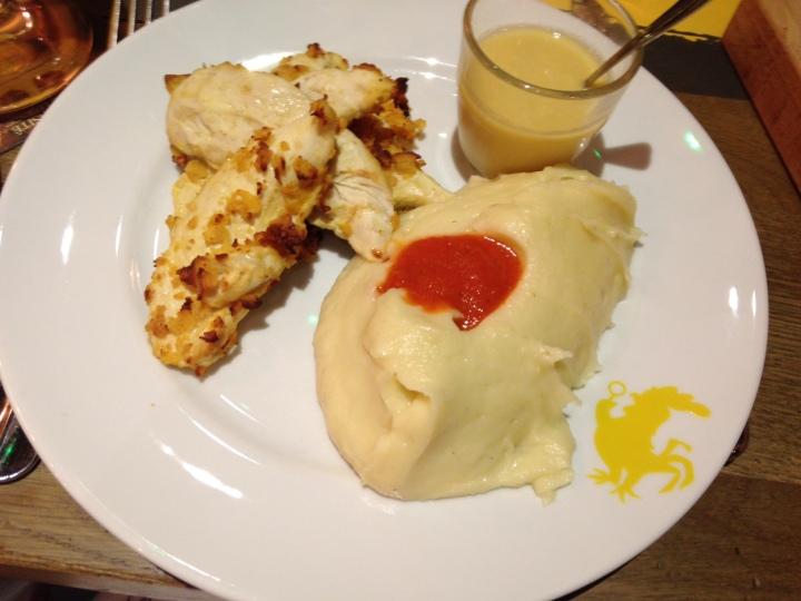 aiguillettes de poulet fermier grillées - poulet purée