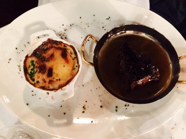 Steak au poivre gratin dauphinois restaurant l'île - les restos de Boulogne