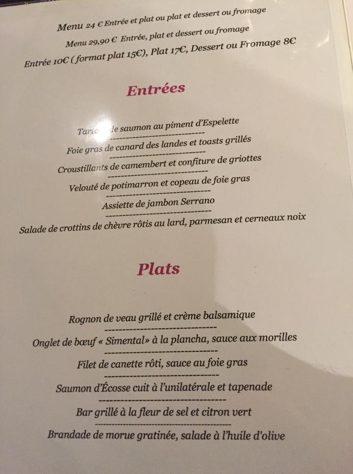 menu la Grange
